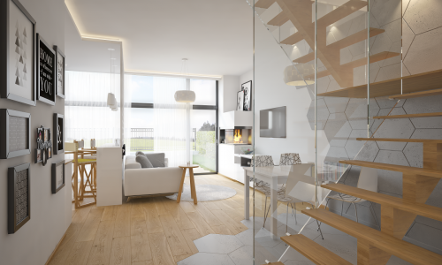 Mirgano segment -A- - wizualizacja salonu z aneksem widok od schodów