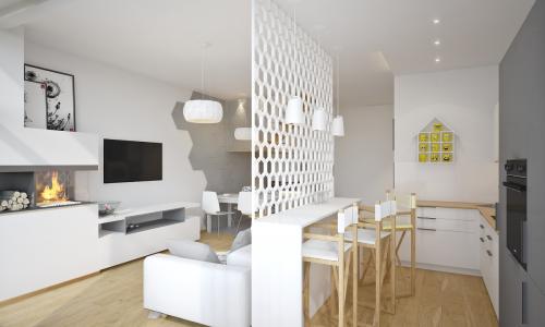Mirgano segment -A- - wizualizacja salonu z aneksem widok z kuchni