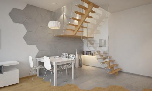 Mirgano segment A - wizualizacja salonu z aneksem widok na schody i stolik